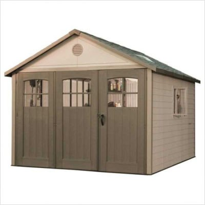 Lifetime 11 x 18.5 ft. Outdoor Storage Shed with Tri Fold Doors For Sale