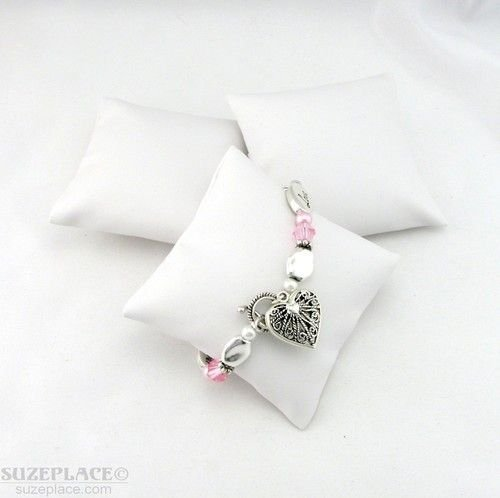 3 White Leather Bracelet Watch Pillow Jewelry Displays 3