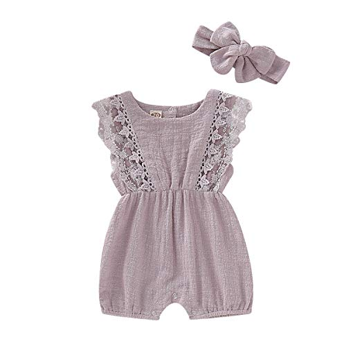 - ZOELNIC Infant Girl Linen Romper Baby Girls Sleeveless Lace Jumpsuit + Bow Headband Toddlder Kids Overalls Summer Outfits (Light Purple, 12-18 Months)