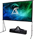 Akia Screens 145 inch Indoor Outdoor Portable Projector Screen with Stand and Bag 16:9 8K 4K Ultra HD 3D Adjustable…