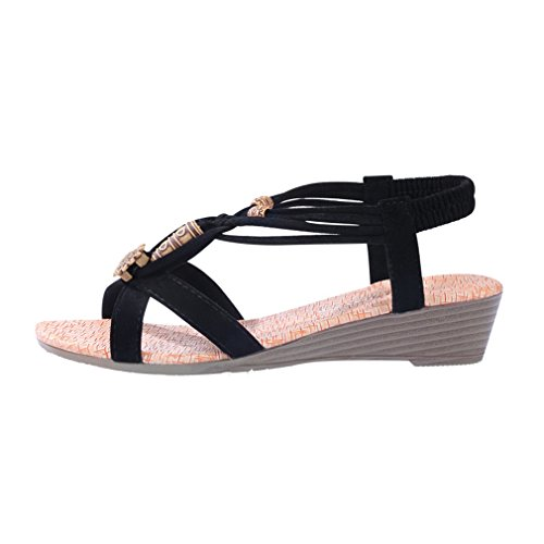 Cybling Sandalias De Cuña Bohemia Moda Zapatos Para Mujeres Zapatos De Correa Elástica Negro