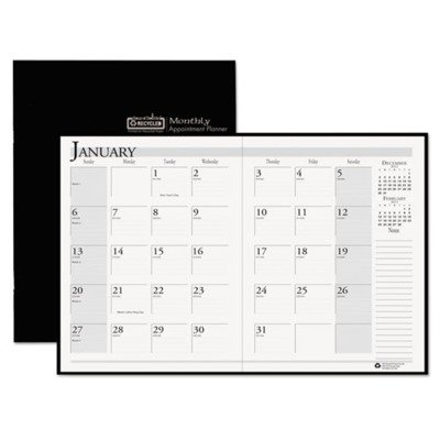 House of Doolittle 26002 Ruled Planner with Stitched Leatherette Cover, 8-1/2 x 11, Black, (Halloween 2017 Day Of Week)