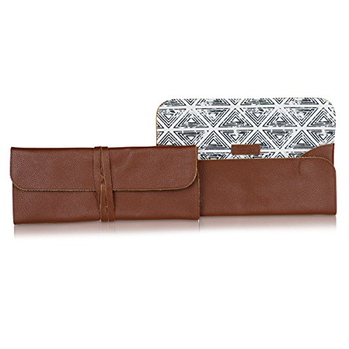 Funky Women Evening Wrap Clutch or Brand Fashion Black Triangle Fabric amp; Casual Vintage for Monkey Brown Leather Bag gPxr8gq