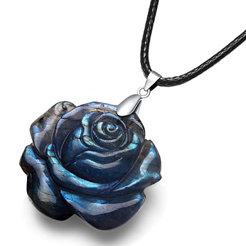 NATURSTON Gemstone Carving Artist Handmade Rose Flower Pendant Flashy Necklace 18