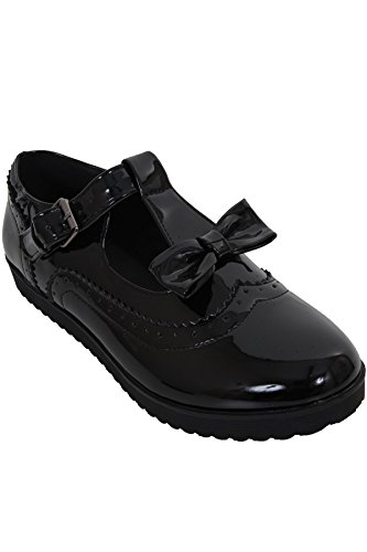 FANTASIA BOUTIQUE ® Ladies Patent Bow T Strap Buckle School Work Smart Flat Dolly Brogues Shoes Black KogRqhwY