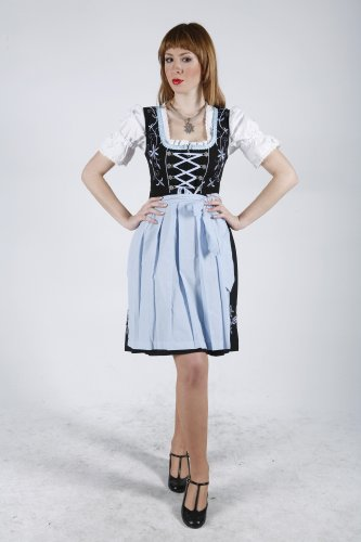 dirndloutlet Mujer Dirndl opaco Vestido de sleevedirndl corta - Schwarz/Skyblau