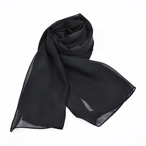 Châle En Mousseline De Soie Coulante Douce Des Femmes Anlin Pour Envelopper Robe De Bal Noir