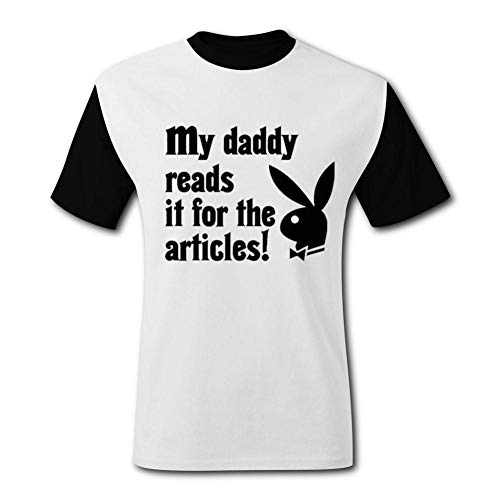 ETJIJCKDI Mens My Daddy Reads Playboy for The Articles Tshirt Short Sleeve Tee Shirts L Black