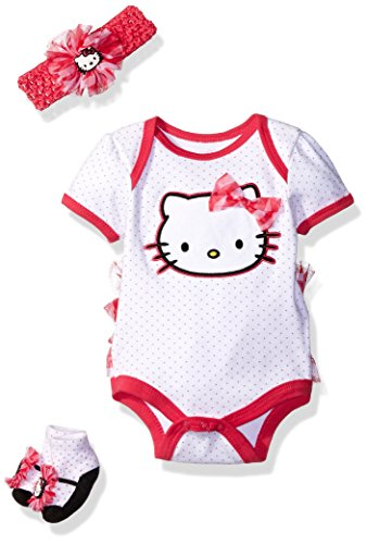 Hello Kitty Baby Girls' Gift Set, Bright White, 0-6 (Infant Bright White Apparel)