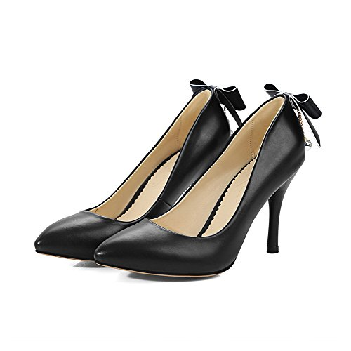 Odomolor Women's PU High-Heels Pointed-Toe Solid Pull-On Pumps-Shoes, Black, 31