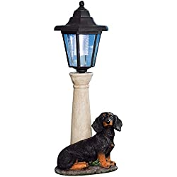 Bits and Pieces - Solar Dachshund Lantern - Solar Powered Garden Lantern - Resin Dog Sculpture With LED Light