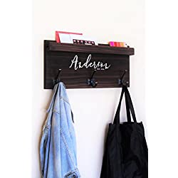 Coat Rack Family Backpack Hooks with Storage Ledge