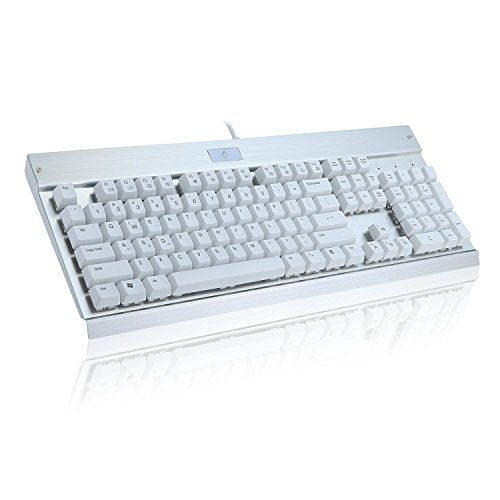 Gaming-Keyboard-Mechanical-Keyboard-for-PC-Gamer-104-keys-Industrial-Sliver-Aluminium-Keyboard-with-blue-switch-White-key-cap-KG011-N-by-EagleTec-NO-backlight