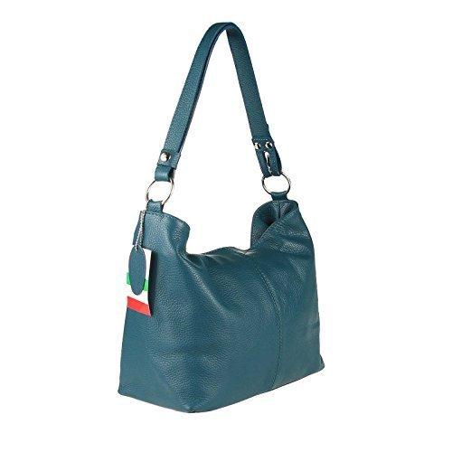 Made Italy, Borsa a spalla donna 28x24x14 cm (BxHxT), Verde (Verde scuro), 28x24x14 cm (BxHxT) Petrolio