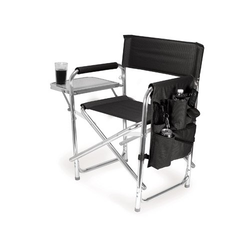 PERSONALIZED IMPRINTED Sports Director Chair with Side Table and Pocket - Black by Everywhere Chair
