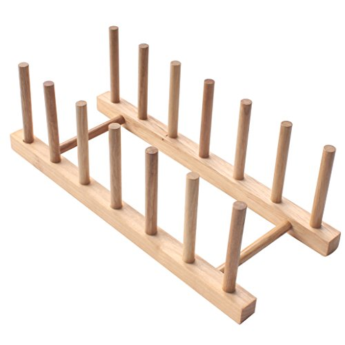 Zicome Set of 2 Bamboo Wooden Dish Rack Plate Rack Stand Pot Lid Holder Kitchen Cabinet Organizer by ZICOME (Image #6)