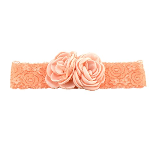 Elastic Baby Girls Lace Headband with Double Baked Burn Satin Rosette Flowers JA63 (Peach)
