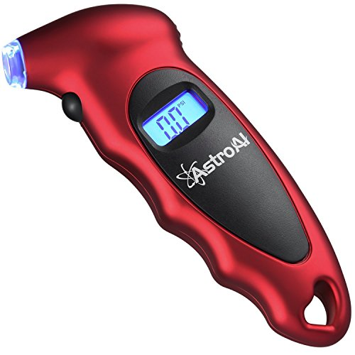 - AstroAI Digital Tire Pressure Gauge 150 PSI 4 Settings for Car Truck Bicycle with Backlit LCD and Non-Slip Grip, Red