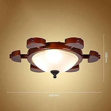 ZWL Lámpara de techo retro de madera maciza, Lámpara de ...