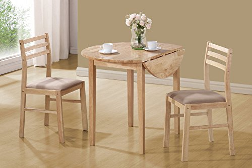 1PerfectChoice Dinettes 3 Pc Small Dining Breakfast Drop Down Table Side Chair Set Wood Natural
