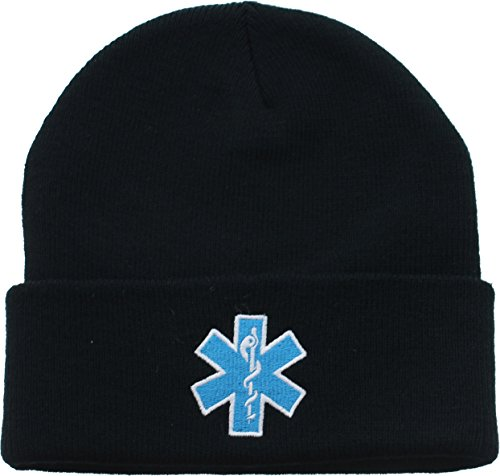 Black EMS EMT Emergency Medical Star of Life Knit Winter Acrylic Watch Cap Hat with Army Universe Pin