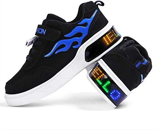FADVES キッズスニーカー 光るシューズ USB充電式 マジックテープ 春秋冬 発光シューズ LEDスニーカー LEDシューズ 光る靴 発光靴 運動靴 子供用 ガールズ ボーイズ LED靴 カジュアル シューズ