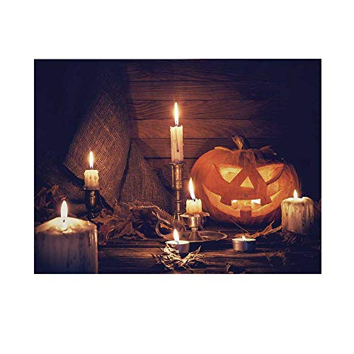 Halloween Photography Background,Rustic Home Wooden Planks Burning Candles Pumpkin Sackcloth Harvesting Holiday Decorative Backdrop for Studio,10x6ft]()