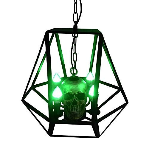 ZLHLL Halloween Skull Chandelier Theme Creative Birthday Scene Layout Decoration Lamp Living Room Corridor Garden Party Hanging Lamp Wrought Iron Horror Atmosphere LED Ceiling Lamp]()