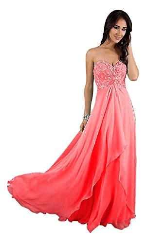 Spitze lange Emily Beauty mit Abendkleider Träger Rose Chiffon YzwqqUa6x4