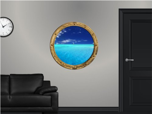 """24"""" PortScape Instant Sea Window Sail Boat sailboat #2 Porthole View Wall Graphic Decal Port hole Sticker Mural Home Kids Game Room Art Decor NEW !!"""