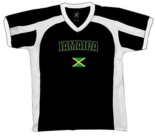 Jamaica Country Flag Men's Soccer Style Sport T-Shirt, Amdesco, Black/White/White Small