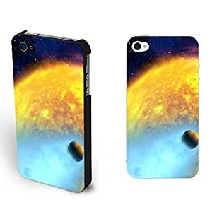 Fashionable Colorful Nebula Starry Pattern Design Galaxy Iphone 4 4s Case Cover Hard Plastic Protective Phone Case Skin (yellow outer space plannet)
