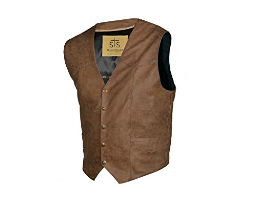 STS Ranchwear Men's Lightweight Classic Leather Vest (antique brown, Large)