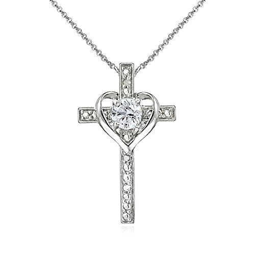 (GemStar USA Sterling Silver Created White Sapphire Cross Heart Pendant Necklace for Girls, Teens or Women)