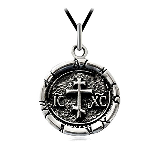 (CHRISTIAN ORTHODOX RUSSIAN CROSS ICXC SOLID STERLING 925 SILVER PENDANT NECKLACE)