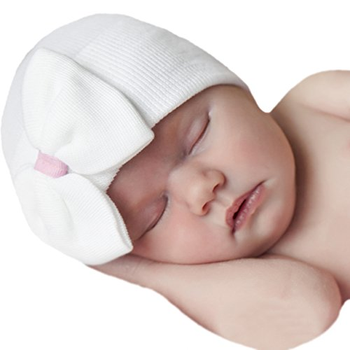 Melondipity White Big Bow & Sweet Pink Ribbon Newborn Girl Hospital Baby Hat