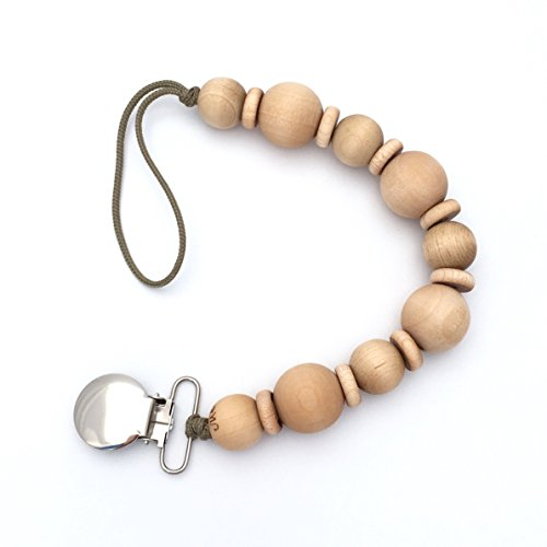 Handmade Natural Wooden Beads Pacifier Clip Baby Shower Gift for Girl or Boy CLEO