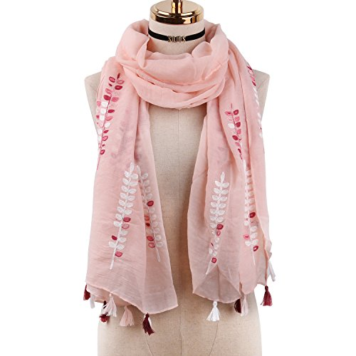 SOJOS Chiffon Scarf for Women Soft Lightweight Stylish Shawl Wrap SC313 With Embroidery Branches - Pink