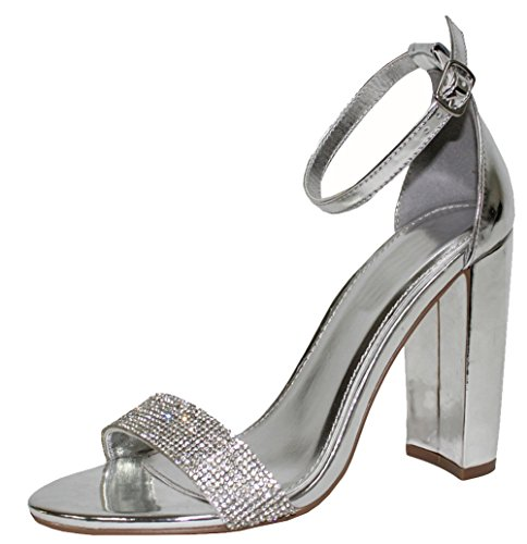 Chunky Rhinestone (Cambridge Select Women's Open Toe Crystal Rhinestone Ankle Strappy Chunky Stacked Block Heel Dress Sandal (8.5 B(M) US, Silver PU))