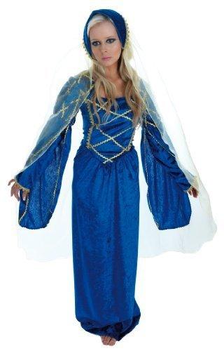Tudor Lady - Blue - Adult Fancy Dress Costume - Medium - 12-14 by A2Z Kids