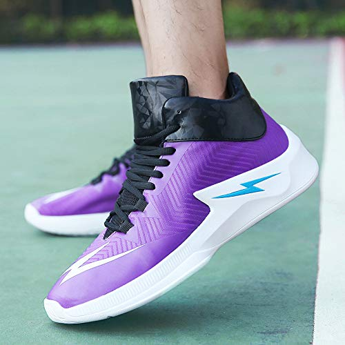 Hasag Calzado Deportivo New Shock Absorption Casual Zapatillas de Baloncesto Men's Slip purple