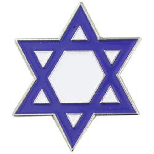 PinMart Blue and White Jewish Star of David Enamel Lapel Pin ()