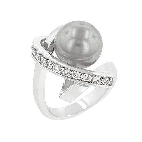 J Goodin Valentine's Day Gifts Silvertone Knotted Simulated Pearl Ring Size 7