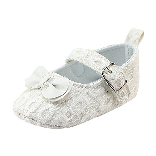 Coohole Newborn Infant Baby Girls Hook & Loop Buckle Strap Bowknot Crib Shoes Soft Sole Anti-slip Sneakers (12, Blue 1) White 1