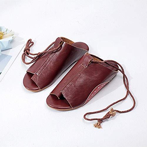 Cordones Verano Red Tobillo para Abierta Mujer Sandalias Abiertas Zapatillas con Punta Sandalias Zapatillas de 39 Playa con de 6wB751q