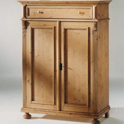 Gradel Alina Vertiko mit 1 Schublade, 2 Türen und 2 Einlegeböden in Fichte massiv - weiss lackiert, Holzmaserung sichtbar
