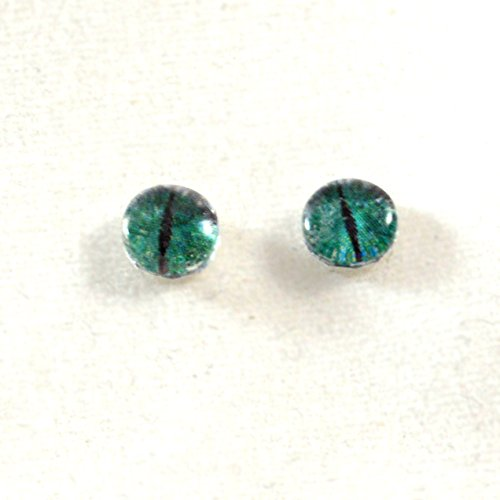 6mm Pair of Fantasy Green and Grey Dragon Glass Eyes Crafting Supply Flatback Cabochons for Doll or Jewelry Making