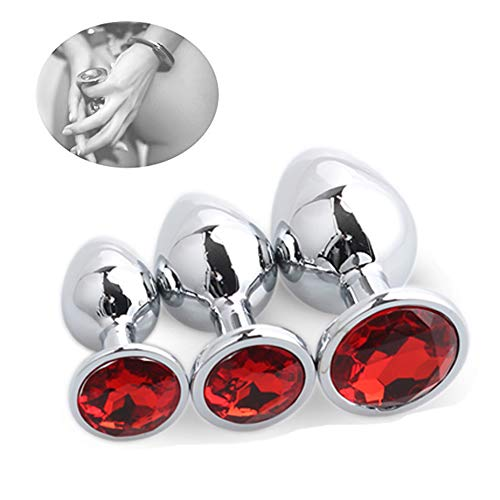 King Snow Deluxe anal metal anal Plugs Butt Plug Set, anal Deluxe plug Hook con cristal rojo 171000