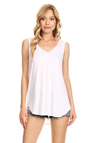 A+D Womens Casual Loose Knit V-Neck Tank with Uneven Hem