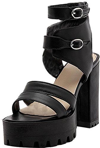 Salcr Women Buckle Shoes Calaier Sandals Black Open Heel Block Toe 12CM wxFRqn5OR